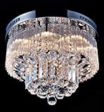 Saint Mossi Chandelier Modern K9 Crystal Raindrop Chandelier Lighting Flush Mount LED Ceiling Light Fixture Pendant Lamp for Dining Room Bathroom Bedroom Livingroom 9 G9 Bulbs Required H12' X D18'