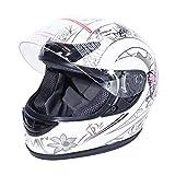 XFMT DOT Adult Flip Up Full Face Motorcycle Helmet Street Dirt Bike ATV Helmet (X-Large, White Pink Butterfly)