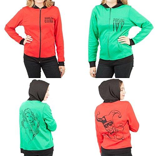 DC Comics Harley Quinn & Poison Ivy Reversible Womens Hoodie Jacket S