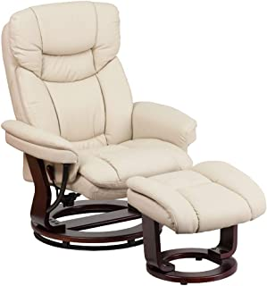 Flash Furniture Recliner Chair with Ottoman | Beige LeatherSoft Swivel Recliner Chair..