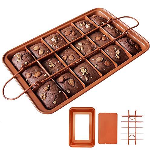 Hbsite Brownie Teglia con divisori Antiaderente Brownie Teglia da forno Bakeware Brownie Pan Cucina Ovenware Stampo per torta quadrato