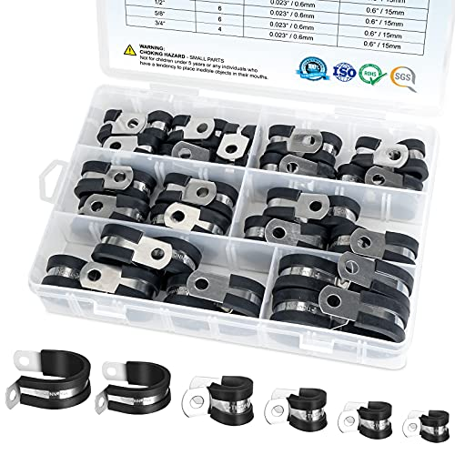 TICONN 42PCS Cable Clamps Set - Rubber Cushioned 304 Stainless Steel Hose Clamps Loop Clamps Pipe Clamps in 6 Sizes (42PCS combo, 1/4'' 5/16'' 3/8'' 1/2'' 5/8'' 3/4'')