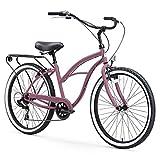 sixthreezero Around The Block Women's 7-Speed Cruiser Bicycle, Light Plum w/Black Seat/Grips, 26' Wheels/17 Frame