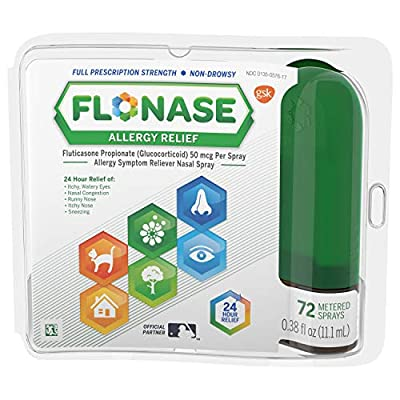 One 72-spray bottle of Flonase Allergy Relief Nasal Spray, 24 Hour Non Drowsy Allergy Medicine, Metered Nasal Spray, stops your body from overreacting to allergens Containing the most prescribed allergy medication, Flonase relieves runny nose, sneezi...
