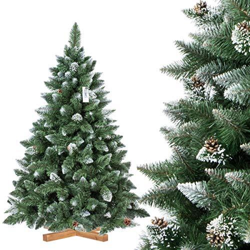 FairyTrees Pino Verde Natural Cubierto de Nieve, Árbol de Navidad Artificial, PVC, con piñas Naturales, Soporte de Madera, 150cm