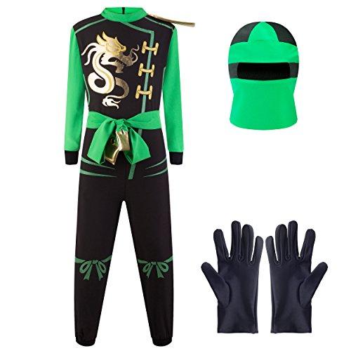 Katara 1771 - Costume ninja ragazzi verde-nero travestimento bambini tuta bimbi guerriero - Taglia M (6-8 anni)