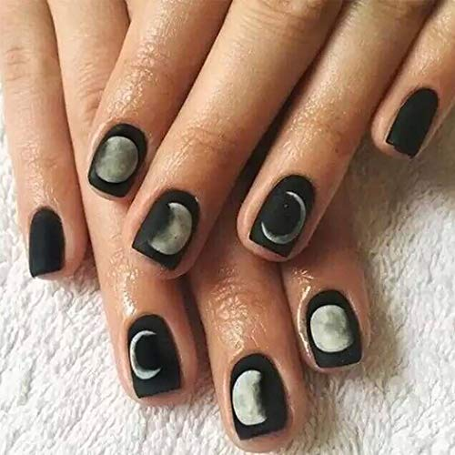 Fdesigner Mate False Nails Accessories Moon Black Short Square Fake Nails Tips Full Cover Acrylic Clip on Nail Halloween Nail Art for Fetival Wedding Party Date