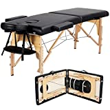 Yaheetech Massage Table Portable Massage Bed Massage Therapy Table Spa Bed 84 Inch Adjustable 2 Fold Salon Bed Face Cradle Bed with Carrying Case Black
