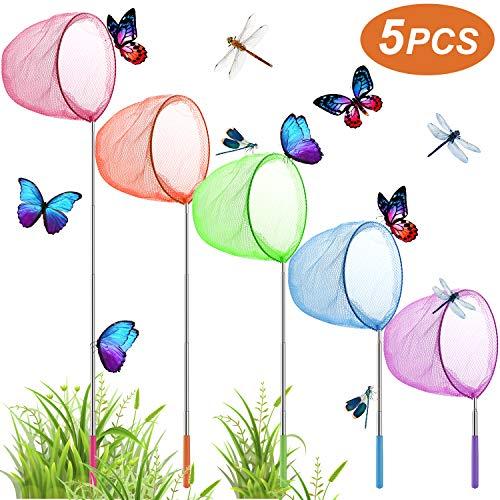 Vintoney Giocattoli Bambini Rete Farfalle 5 Pz Retini Colorati per Catturare Farfalle Insetti Piccoli Pesci Reti Telescopiche Allungabili Gioco Bambini per Giardino Parco attivit all'Aperto