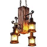 LADIQI Industrial Vintage Wooden Hanging Pendant Light Retro Loft Lantern Chandelier 4 Lights Suspension Lighting Fixture for Coffee Shop Restaurant