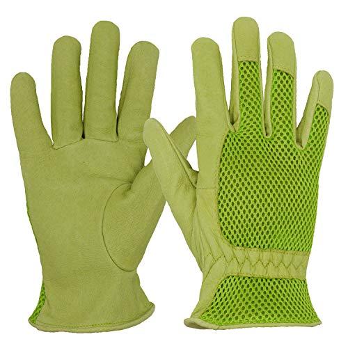 Guanti da giardinaggio in pelle, da donna, in maglia 3D, per migliorare la destrezza e la...