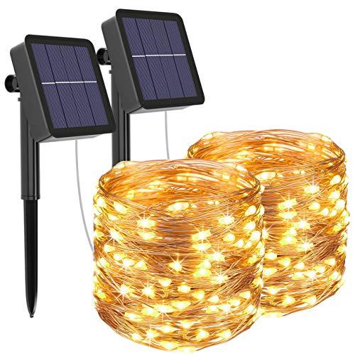[2 Pacchi] Luci Solari Esterno, Litogo 12m 120 LED Catena Luminosa Esterno Filo Luci Led 8 modalit...