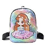Mochila Escolar para Niños, Dibujos Animados, Cuento De Hadas, Princesa, Diseño, Mochila, Mochila, Material De Lentejuelas(Color:Colores del Arcoiris)