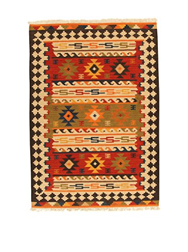 Kilim Carpets by Jalal, Tappeto Kilim Sivas 2 140 X 200 cm Rosso/Multicolore