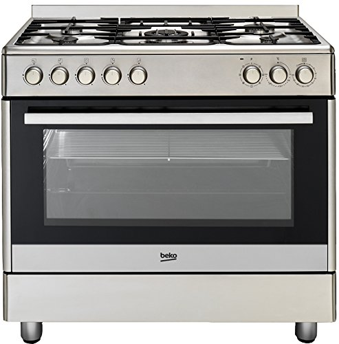 Beko GM 15020 DX Gas Electric Cooker Catalytic B/SIDE PANELS/104 Litre Interior/Stainless Steel/5 Hob with Wok Burner [Energy Class A]