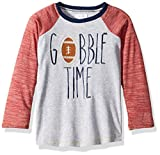 Mud Pie Boys' Little Thanksgiving Gobble Time Football Long Sleeve Raglan T-Shirt, Gray, MD/ 2T-3T