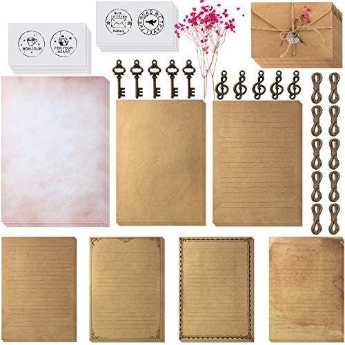 79 Vintage Stationary Paper and Envelopes Set Includes 30 Sheets Antique Letter Papers with 3 Sizes, 12 Kraft Envelopes, 12 Retro Keys, 12 Hemp Rope and 12 Stickers for Christmas Handmade Letter