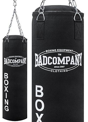 Bad Company Boxsack inkl. Vierpunkt Stahlkette I Canvas Punchingsack, gefüllt I 100 x 30 cm