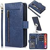 Miagon Multifunzione 9 Slot per Schede Portafoglio Custodia per Samsung Galaxy A52 4G/5G,Pelle Cerniera Monete Borsa Flip Cover con Staccabile Magnetica Case,Blu