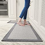 Kitchen Rugs and Mats Non Skid Washable, Absorbent Rug for Kitchen, Large Kitchen Floor Mats for in Front of Sink, 2 PCS Set 20'x32'+20'x48'(Gray)