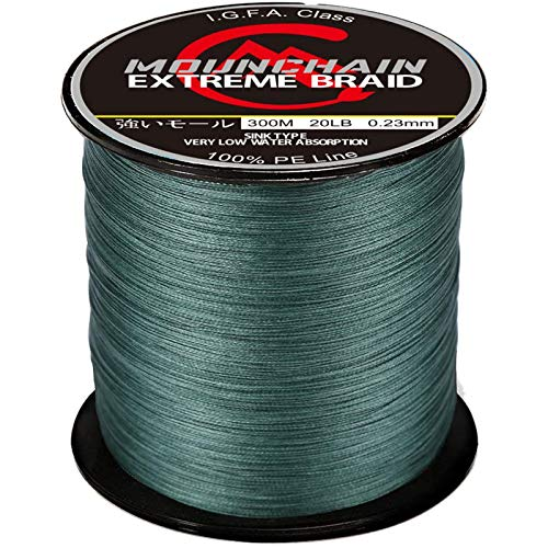 Mounchain Braided Fishing Line Abrasion Resistant Braided Lines 4 Strands Super Strong PE Fishing...