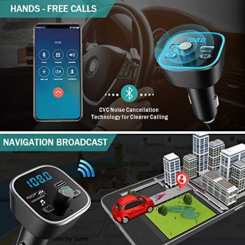 Product Image 3: COMSOON FM Transmitter for Car, Bluetooth Car Adapter with 7 Colors LED Backlight, Wireless Music Player Radio Transmitter Hands Free Car Kit with Type-C PD Quick Charging Port & USB Drive