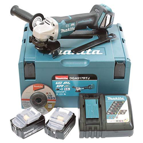 Makita DGA517RTJ Angle Grinder 2-18V-5Ah Li-Ion Batteries 125mm Paddle Switch