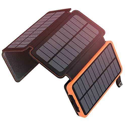 ADDTOP Caricabatterie Solare 25000mAh, Power Bank Impermeabile con 2 Porte USB Batteria Esterna Portabile 9 Luci LED per Huawei, Samsung, iPhone, LG e Altri
