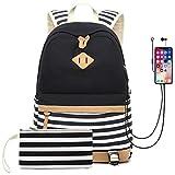 Waterproof Canvas Backpack for College Girls Women USB Charging Port Fits 14' Laptop Backpack Daypack School Bookbag (Black)