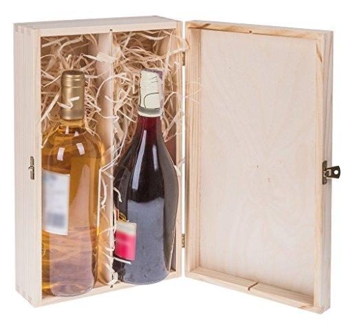 Amazinggirl Cassetta in Legno - scatole per Bottiglie Legno Vino vuote Scatola Cassette Vino Confezione Regalo per 2 Bottiglie