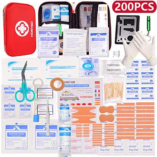 HONYAO Botiquín de Primeros Auxilios 175 Artículos, Mini Kit de Supervivencia - Bolsa Médica de Emergencia Al Aire Libre para Coche El Hogar Lugar de Trabajo Acampar Senderismo Viaje