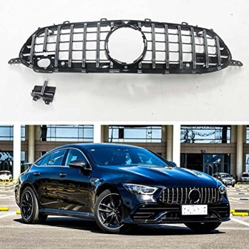 ABS Front Mesh Grill Grille for Mercedes Benz AMG GT 53 63 4 Door Coupe 2018 2019 2020 Racing Grills Car Exterior Bracket Kit,Black