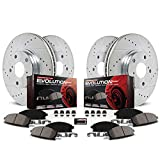 Power Stop K1047 Front and Rear Z23 Carbon Fiber Brake Pads with Drilled & Slotted Brake Rotors Kit