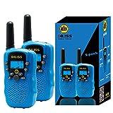 Walkie Talkies for Kids, 22 Channels FRS/GMRS Uhf Two Way Radios 4 Mile Handheld Mini Kids Walkie Talkies for Kids Best Gifts Kids Toys Built in Flashlight 2 Pack - Blue