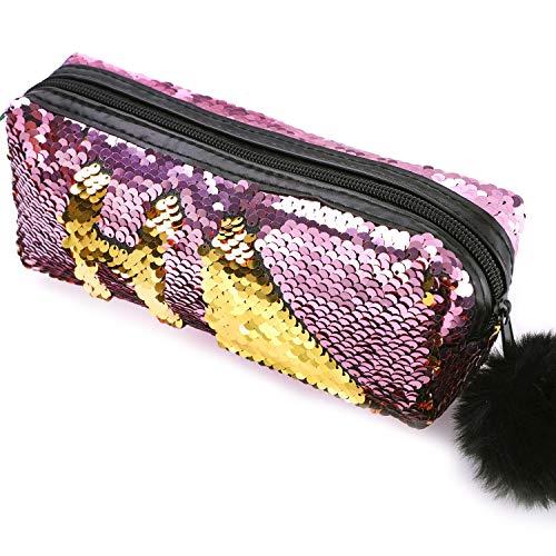 Trousse per Cosmetici con Glitter Reversibili, con Lustrini di Colore Doppio, per Studenti, Ragazze e Donne, con Pompon e Chiusura a Zip, Portatile