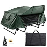 Yescom Double Tent Cot Folding Portable Waterproof Camping Hiking Bed for 2 Person, Green with Rain Fly Bag