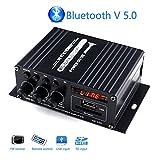 Mochatopia Amplificateur Bluetooth Mini Clear and Reality Sound, Klass AB 2.0 Channel Audio Hi-FI Stéréo avec Bluetooth V5.0 Musique FM Radio SD/USB Récepteur pour PC Mobile Maison Chambre