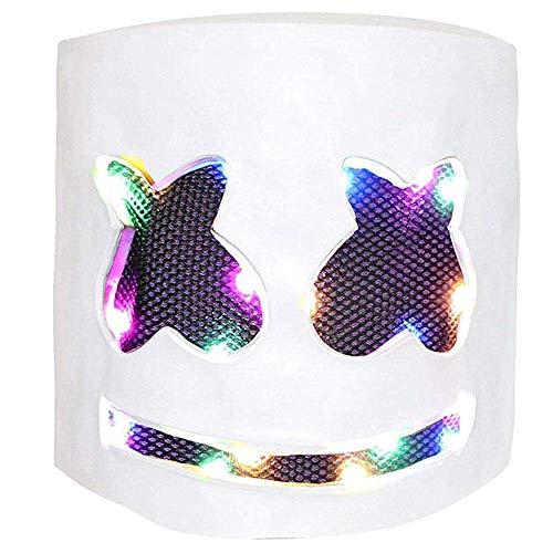 Máscara de DJ Luz LED Disfraz de Halloween Máscara Festival de música Bar Singer Cosplay (Estable)