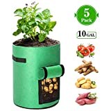 KAUFAM 5 Pack Plant Grow Bag 10 Gallon for Potato Tomato Carrot & Other Vegetable with Harvest Window and Handles, Easy to Use Flower Non-Woven Growing Bag Planting Box Container Garden Indoor Outdoor