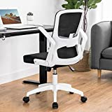 ComHoma Office Chair Ergonomic Mesh Desk Chair Swivel Mid Back Computer Chair Flip Up Arms with Lumbar Support Adjustable Height Task Chair White