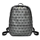 Mochila geométrica Lingge holográfica reflectante de viaje, mochila de moda, mochila escolar para hombres y mujeres