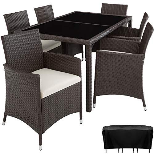 TecTake Set di mobili poli rattan set 6+1 arredamento giardino | involucro protettivo | viti in acciaio inox - disponibile in diversi colori - (Antico | no. 402060)