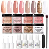 Dip Powder Nail Kit Starter- AZUREBEAUTY 8 Colors Nude White Glitter Dipping Powder System Beginner, Essential Liquid Set with Base & Top Coat Activator for French Nail Art Manicure Set DIY Salon