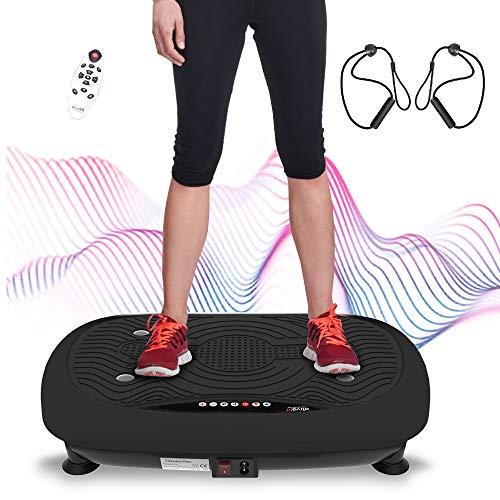 ATIVAFIT Fitness Vibrationsplatte mit Ultraflache Vibration Shaper Platte mit LCD Display, Fernbedienung, Trainingsbänder