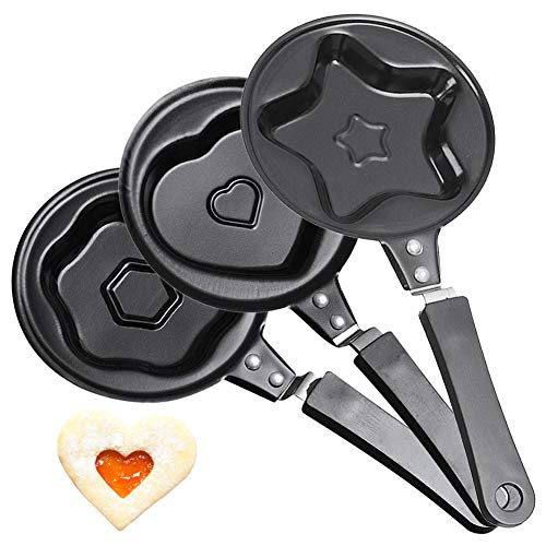 3Pcs Padella per Uova, Padella Antiaderente Multifunzione in Lega di Alluminio per Cuocere Uova Fritte e in Camicia, Pancake, Fornello a Gas(Amore, Stelle, Fiori)