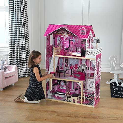 Image 10 - Kidkraft - 65093 - Maison de Poupées en Bois Amelia Incluant Accessoires et Mobilier, 3 Étages de Jeu pour Poupées 30 cm