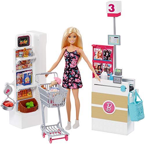 Barbie Bambola, Supermercato, Carrello Funzionante e Tanti Accessori, Multicolore, FRP01