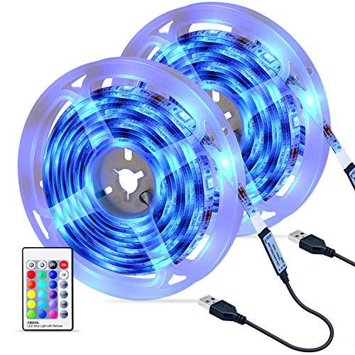 Striscia LED, OMERIL Strisce LED RGB 5050 con Telecomando RF, 16 Colori e 4 Modalit, Impermeabile...