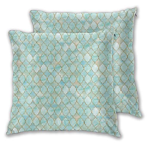 Nonebrand - Copricuscino decorativo con motivo orientale color acqua e oro, per divani, poltrone,...