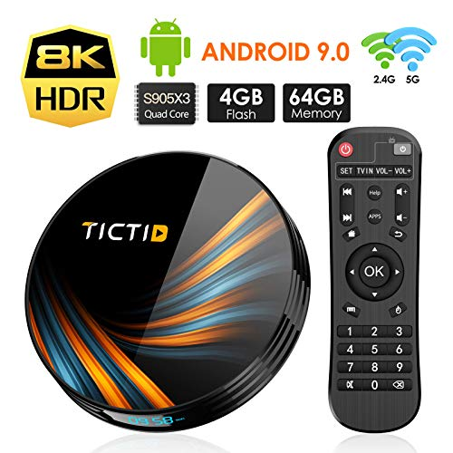 TICTID Smart TV Box【4GB+64GB】 Android TV Box TX6...